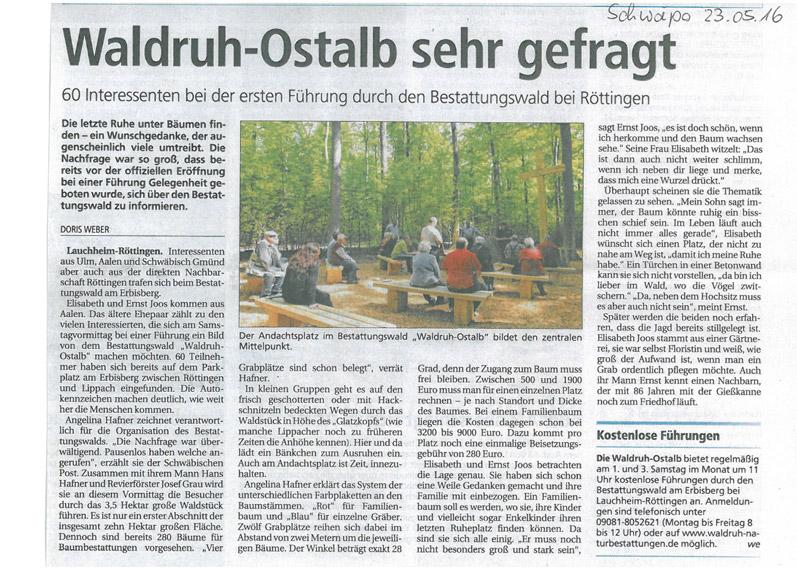 Waldruh Ostalb sehr gefragt